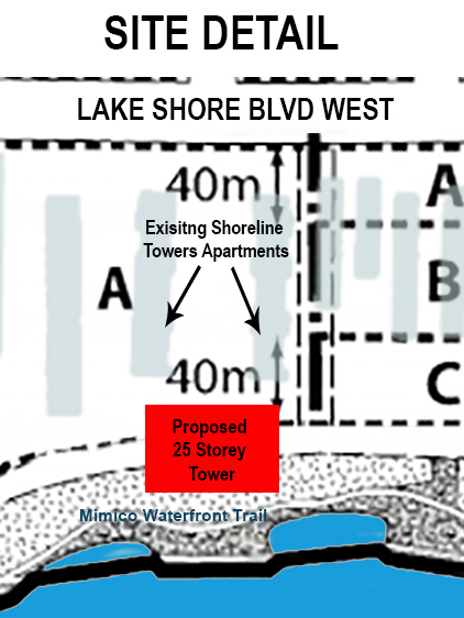 Shoreline Towers -  site detail with existing apartments and proposed tower